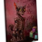 Cheshire Cat We Re All Mad Here Art Image 20x16 Framed Canvas Print