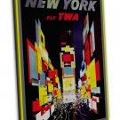 Twa Travel New York Retro Image 20x16 Framed Canvas Print