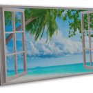 Window Beach Landscape Home Decor Art 16x12 FRAMED CANVAS Print Decor