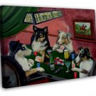 Dogs Playing Poker Vintage Art 16x12 Framed Canvas Print Decor