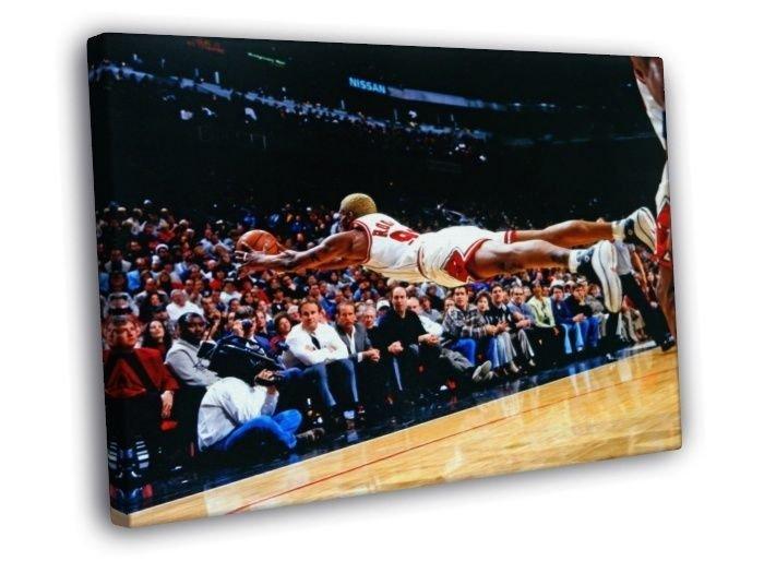 Dennis Rodman Chicago Bulls Jump Save Rebound  20x16 FRAMED CANVAS WALL PRINT
