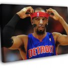 Richard Hamilton Rip Mask Detroit Pistons Basketball  20x16 FRAMED CANVAS WALL PRINT