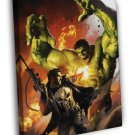 Punisher vs Hulk Fight Awesome Art WALL  20x16 FRAMED CANVAS PRINT