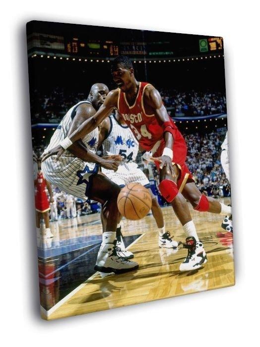 Hakeem Olajuwon Shaquille O'Neal Basketball WALL  20x16 FRAMED CANVAS PRINT