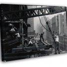 Construction Builder Worker Man Crane Retro Old BW WALL  20x16 FRAMED CANVAS PRINT