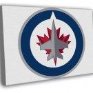 Winnipeg Jets Logo Hockey Sport Art FRAMED CANVAS WALL PRINT 20x16 inch