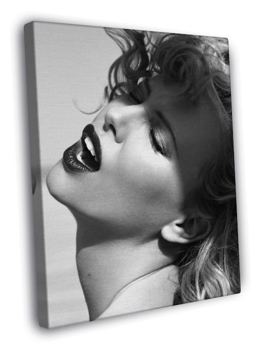 Charlize Theron Portrait Actress BW  20x16 FRAMED CANVAS WALL PRINT