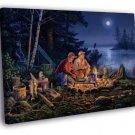 Fishing Campfire Fishermen Bear Lake Night Painting  20x16 FRAMED CANVAS WALL PRINT