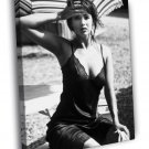 Sophie Marceau Beautiful Hot Actress Retro BW  20x16 FRAMED CANVAS WALL PRINT