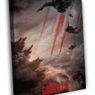 Godzilla 2014 Movie Paratroopers Awesome FRAMED CANVAS WALL PRINT 20x16 inch