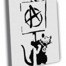 Banksy Rat Anarchy Pacifism Cool Graffiti Art  20x16 FRAMED CANVAS WALL PRINT