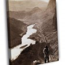 Native American Indian 1868 Transcontinental Railroad FRAMED CANVAS WALL PRINT 20x16 inch