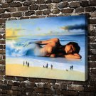 The woman in the sea Decor  20x16 FRAMED CANVAS PRINT