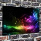 Discus the moon Paintings Decor  20x16 FRAMED CANVAS PRINT