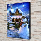 A snowball fight Decor  20x16 FRAMED CANVAS PRINT