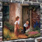 Kids and flowers Decor  20x16 FRAMED CANVAS PRINT