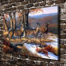 North Ridge Whitetails Deer  20x16 FRAMED CANVAS PRINT