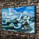 The sea surges  20x16 FRAMED CANVAS PRINT