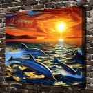 Dolphin Dream Animal  20x16 FRAMED CANVAS PRINT