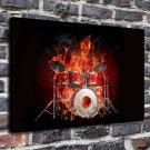 Fire Drummer FRAMED CANVAS PRINT CA 20x16 inch