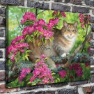 The cat on the flowers  20x16 FRAMED CANVAS PRINT