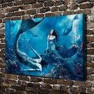 Mermaid family  20x16 FRAMED CANVAS PRINT