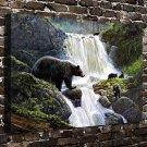 Waterfall Bear Painting  20x16 FRAMED CANVAS PRINT