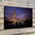 Future cities  20x16 FRAMED CANVAS PRINT