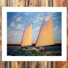 Sailboats, betting FRAMED CANVAS PRINT CA 20x16 inch