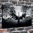 Black batman Paintings  20x16 FRAMED CANVAS PRINT