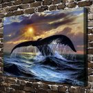 Animal Whale FRAMED CANVAS PRINT CA 20x16 inch