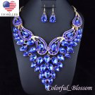 Large Sexy Austrian Rhinestone Crystal Bib Necklace Earrings Set Bridal Prom N27