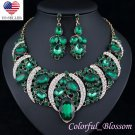 Sexy Austrian Rhinestone Crystal Bib Necklace Earrings Set Prom Wed Party N48gn