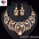 Sexy Austrian Rhinestone Crystal Bib Necklace Earrings Set Prom Wed Party N48g
