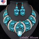 Sexy Austrian Rhinestone Crystal Bib Necklace Earrings Set Prom Wed Party N48t