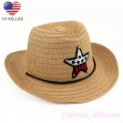Boy's Girl's Brown Summer Wide Brim Floppy Cowboy Beach Sun Visor Hat HK18