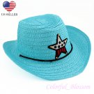 Boy's Girl's Blue Summer Wide Brim Floppy Cowboy Beach Sun Visor Hat HK20