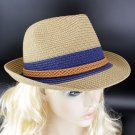 Summer Women's Flanging With Brown Braided Band Sun Beach Straw Cowboy Hat HA3