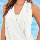 Unomatch Women Chiffon Sleeveless Shirt and Blouse White (UWSB346)