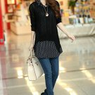 Unomatch Women Polka Dot Shirt with Knitted Top Blouse (UWSB862)