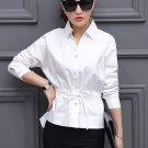 Unomatch Women Collar Neck Waist Fastening Shirt and Blouse White (UWSB857)