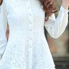 Unomatch Women Lace Decorated Long Sleeves Shirt and Blouse White (UWSB850)