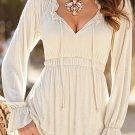 Unomatch Women Elasticated Pleated Waist Shirt and Blouse Off White (UWSB815)