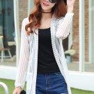 Unomatch Women Long Sleeved Thin Striped Shirt and Blouse White (UWSB775)