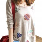 Unomatch Women Solid Patten Long Sleeves Shirt Decorated with patches Brown (UWSB750)