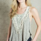 Unomatch Women Summer Crochet Irregular Hem Soft Cotton Tank Vest Grey (UWSB746)