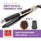 KIKI Hair 2 in 1 Straightener and Hair Curling Iron Comb
