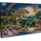 Dinosaur Volcanoes Art Murals Wall Decor 16x12 FRAMED CANVAS Print
