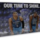 Russell Westbrook Kevin Durant Basketball Star Wall Decor 16x12 FRAMED CANVAS