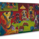 Dogs Playing Poker Funny Art 16x12 Framed Canvas Print
